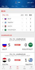 NHK ワールドカップアプリ 日程タブ