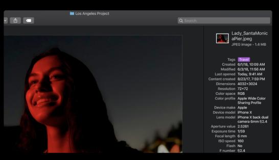 macOS mojaveでのメタデータ表示機能