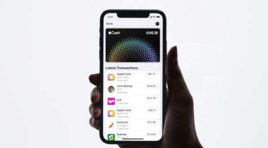 Apple Cashのホーム画面 残高とキャッシュバック、送金受け取りの履歴が表示